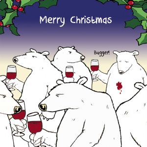 CANX28 – Funny Christmas Card Bugger Bear